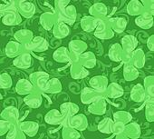 Shamrocks  on a Background of Green Swirls