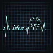 heartbeat make idea  word and bulb