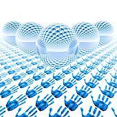 abstract glass balls with fingerprint
