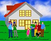 illustration of a family with a house