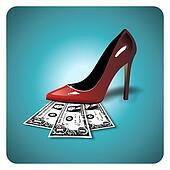 Dollars under a red stiletto