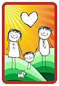 colorful happy family illustration