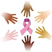 Diversity hands around CANCER symbol