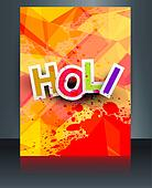 Beautiful indian festival brochure colorful texture holi card template vector background