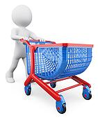 3D white people. Shopping trolley