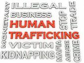 3d image Human trafficking issues concept word cloud background