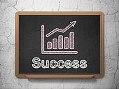 Finance concept: Growth Graph and Success on chalkboard background