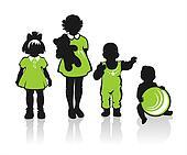 ornate children silhouettes
