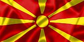 Macedonia flag blowing in the wind