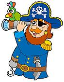 Pirate with spyglass and parrot