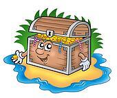 Cartoon treasure chest on island