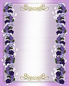 Wedding invitation purple Petunias