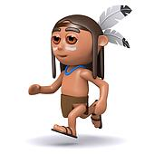 3d Native American Indian running