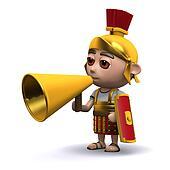 3d Roman soldier uses a megaphone