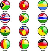 Set circle icon  Flags of world sovereign states. Vector illustr