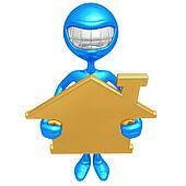 Holding Golden Home Sign