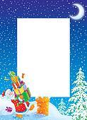 Christmas frame / border with Santa