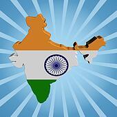 India map flag on blue sunburst illustration
