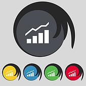 Growth and development concept. graph of Rate icon sign. Symbol on five colored buttons.