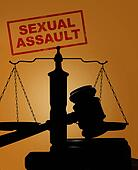 Sexual Assault stamp and gavel with scales