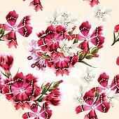 Vector seamless wallpaper with pink flowers