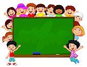Crowd children cartoon with chalkbo