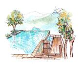 swimming pool infinity edge water colour illustration