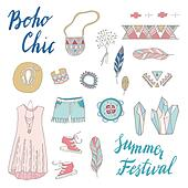 Boho Chic vector set.