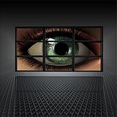video wall with girl eye