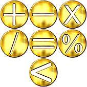 3D Golden Math Symbols