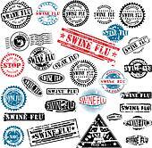 Rubber stamps Swine Flu grunge