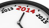2014 in a clock in 3d