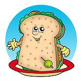 Cartoon sandwich on plate