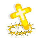 Cross and crown of thorns on white background