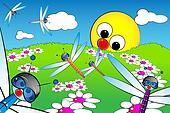 Landscape with sun and dragonflies - Kid illustration
