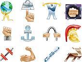 Strength Icon Set Series Design Elements