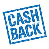 Cash back stamp in blue