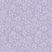 Purple and White Doggy Tile Pattern Repeat Background