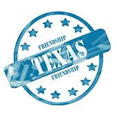 Blue Weathered Texas Stamp Circle and Stars