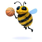 3d Honey bee playing basketball
