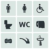 Vector black toilet icons set