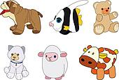 Puppies for children.  Dog, fish, bear, cat, sheep and cow