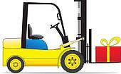 Forklift loader with present