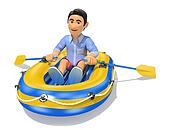 3D Young man in shorts paddling a inflatable boat