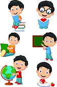 Happy school children cartoon colle