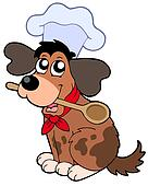 Cartoon dog chef with spoon