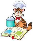 Cartoon cat chef with recipe book