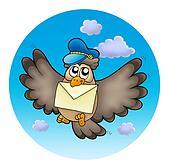 Owl postman on sky