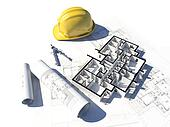 3D image if a floor plan and some blueprint and a helmet