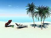 Deck chair on a tropical beach.